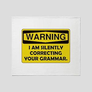 Warning Grammar Throw Blanket