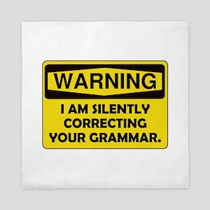 Warning Grammar Queen Duvet