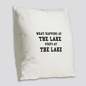 Happens At Lake Burlap Throw Pillow