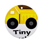 Tiny Trucker Yellow Dump Truck Ornament (Round)