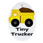 Tiny Trucker Yellow Dump Truck Ornament (Oval)