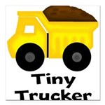 Tiny Trucker Yellow Dump Truck Square Car Magnet 3