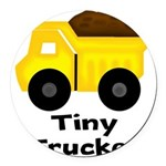 Tiny Trucker Yellow Dump Truck Round Car Magnet