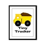 Tiny Trucker Yellow Dump Truck Framed Panel Print