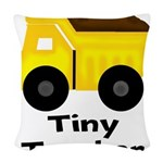 Tiny Trucker Yellow Dump Truck Woven Throw Pillow