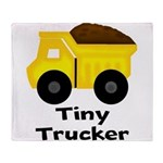 Tiny Trucker Yellow Dump Truck Throw Blanket