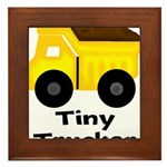 Tiny Trucker Yellow Dump Truck Framed Tile