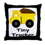 Tiny Trucker Yellow Dump Truck Throw Pillow