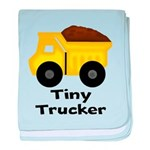 Tiny Trucker Yellow Dump Truck baby blanket