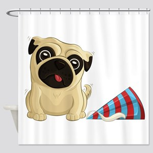 Party Pug 2 Shower Curtain