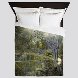 The Enchanted Forest at Nightfall Queen Duvet
