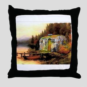 Airstream camping Throw Pillow