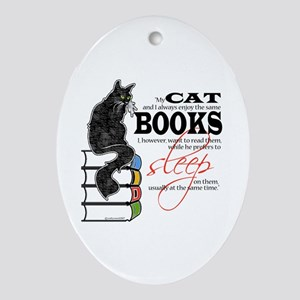 Cat and Books 2 Oval Ornament
