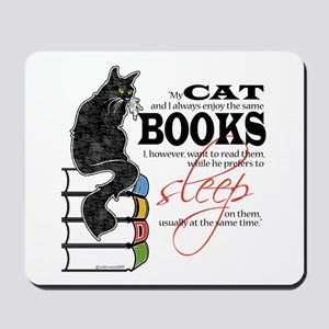 Cat and Books 2 Mousepad