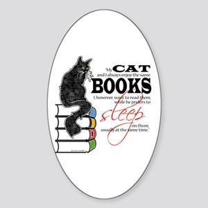 Cat and Books 2 Oval Sticker