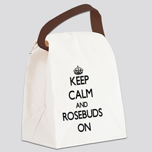 Keep Calm and Rosebuds ON Canvas Lunch Bag