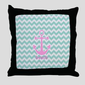 Aqua Chevron Beach Throw Pillow