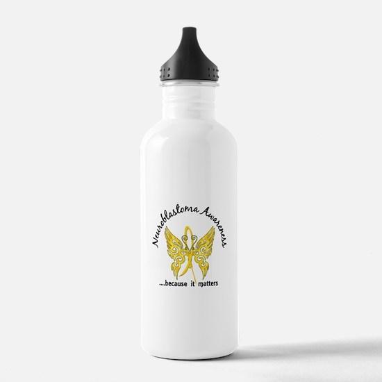 Neuroblastoma Butterfl Water Bottle