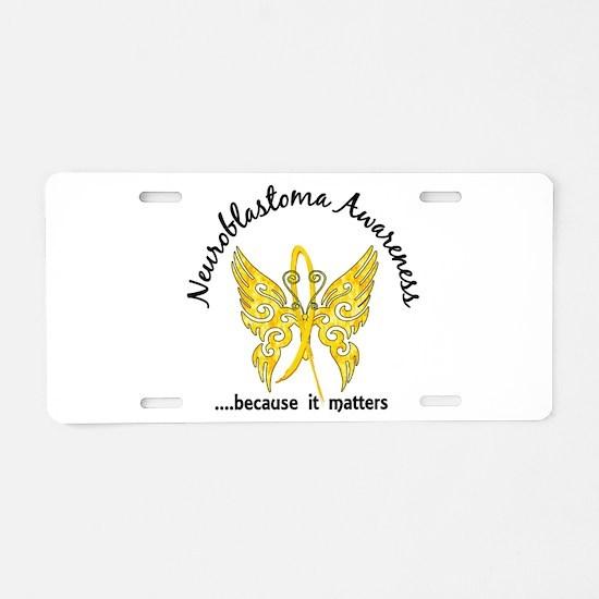 Neuroblastoma Butterfly 6.1 Aluminum License Plate