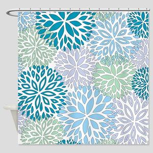Vintage Floral Pattern Light Blue Shower Curtain