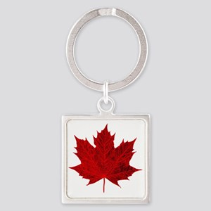 Vibrant Red Maple Leaf Keychains