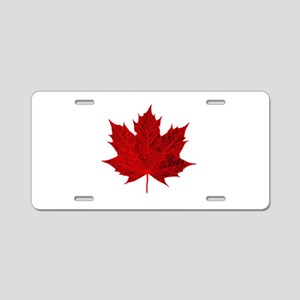 Vibrant Red Maple Leaf Aluminum License Plate