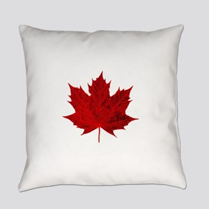 Vibrant Red Maple Leaf Everyday Pillow