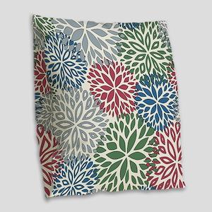 Vintage Floral Pattern Burlap Throw Pillow