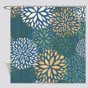 Turquoise Gray Yellow Shower Curtains Cafepress