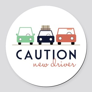 Caution New Driver Round Car Magnet
