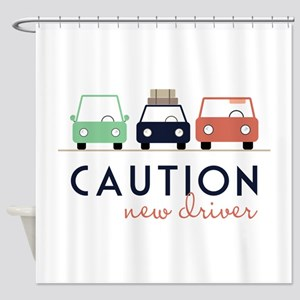 Caution New Driver Shower Curtain