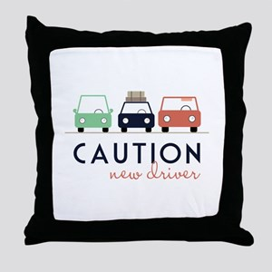 Caution New Driver Throw Pillow
