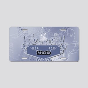 Music, clef wiht keynotes Aluminum License Plate