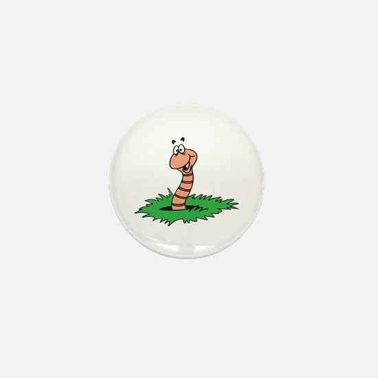 Happy Smiling Earthworm Mini Button