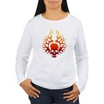 Flaming Skull tattoo Women's Long Sleeve T-Shirt