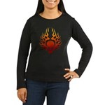 Flaming Skull tattoo Women's Long Sleeve Dark T-Sh