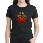 Flaming Skull tattoo Women's Dark T-Shirt