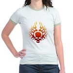 Flaming Skull tattoo Jr. Ringer T-Shirt