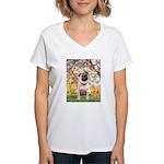 Spring / Pug Women's V-Neck T-Shirt