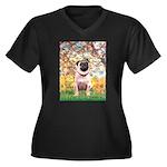 Spring / Pug Women's Plus Size V-Neck Dark T-Shirt