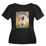 Spring / Pug Women's Plus Size Scoop Neck Dark T-S