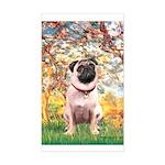 Spring / Pug Sticker (Rectangle)