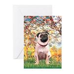 Spring / Pug Greeting Cards (Pk of 10)