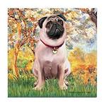 Spring / Pug Tile Coaster