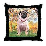 Spring / Pug Throw Pillow
