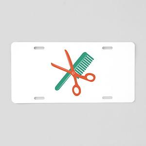 Comb & Scissors Aluminum License Plate