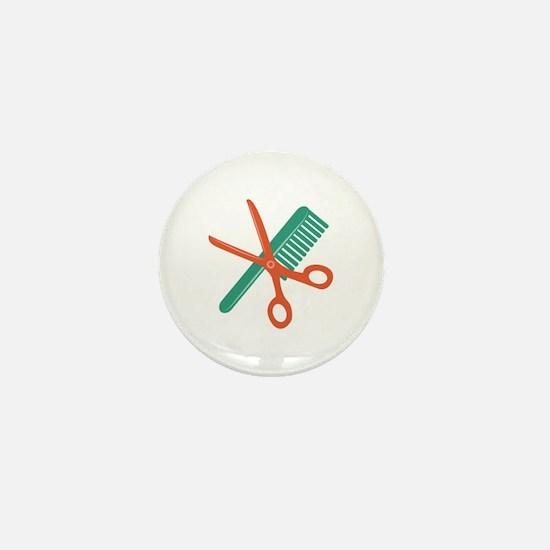 Comb & Scissors Mini Button