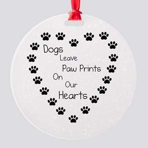 Dogs Leave Paw Prints 10 x 10 Round Ornament