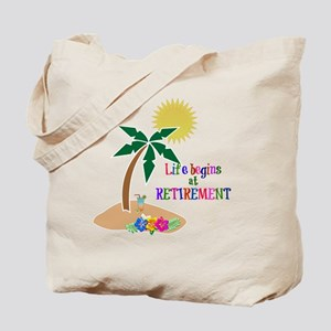 Life Begins at Retirement, Tropical Beach Tote Bag