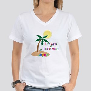 Life Begins at Retirement,  Women's V-Neck T-Shirt